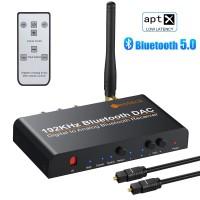 Цифров към аналогов аудио конвертор DAC 192kHz с Bluetooth/блутут и дистанционно