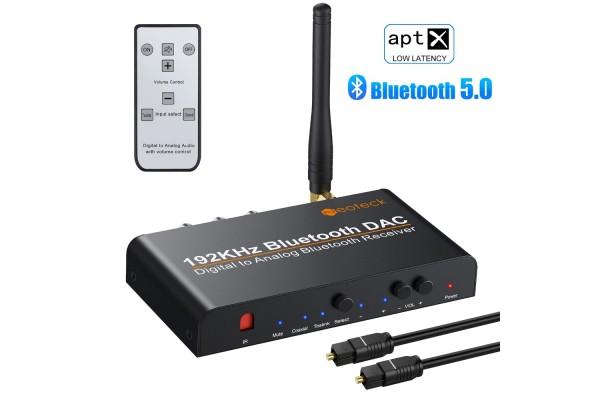 Цифров към аналогов аудио конвертор DAC 192kHz с Bluetooth/блутут и дистанционно - кабели и преходници - 14607 - nextbg.com