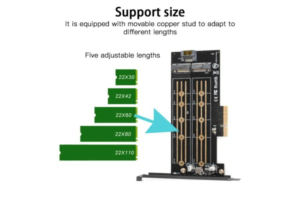 ДВОЕН преходник M.2 (M2) SSD NVME към PCI-E 3.0 x4 - кабели и преходници - 14217 - nextbg.com