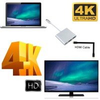 Алуминиев Type-C(USB-C) хъб към HDMI/USB 3.0/Type-C (конвертор)