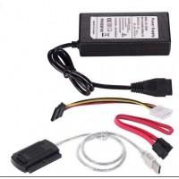 """USB Кабел за връзка към диск 2.5""""/3.5"""" SATA/IDE HDD/DVD/SSD със захранващ адаптер"""